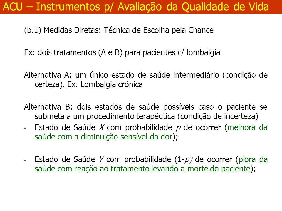 (b.1) Medidas Diretas: Técnica de Escolha pela Chance Ex: dois tratamentos (A e B) para pacientes c/ lombalgia Alternativa A: um único estado de saúde intermediário (condição de certeza).