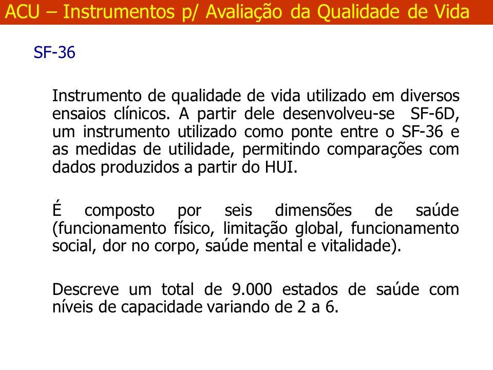 SF-36 Instrumento de qualidade de vida utilizado em diversos ensaios clínicos.