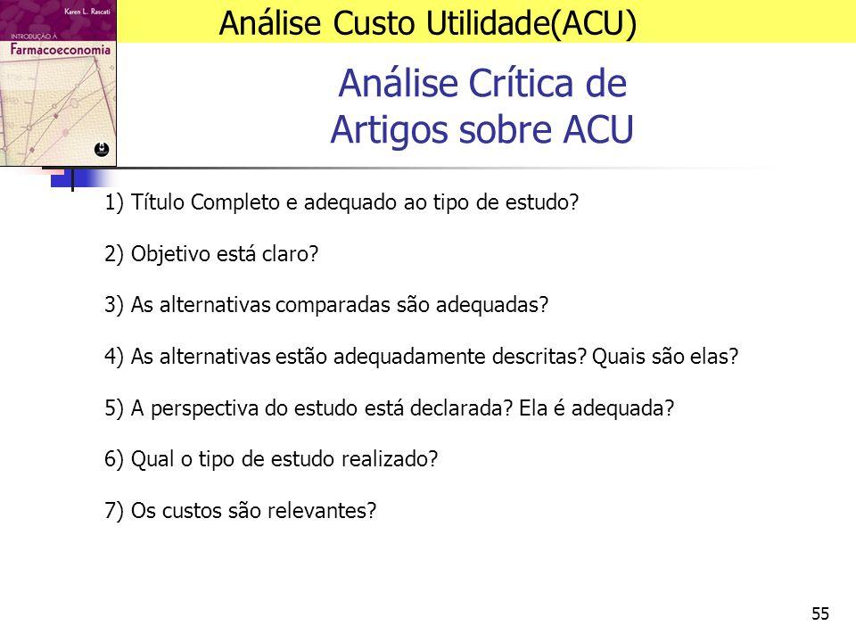 55 Análise Crítica de Artigos sobre ACU 1) Título Completo e adequado ao tipo de estudo.