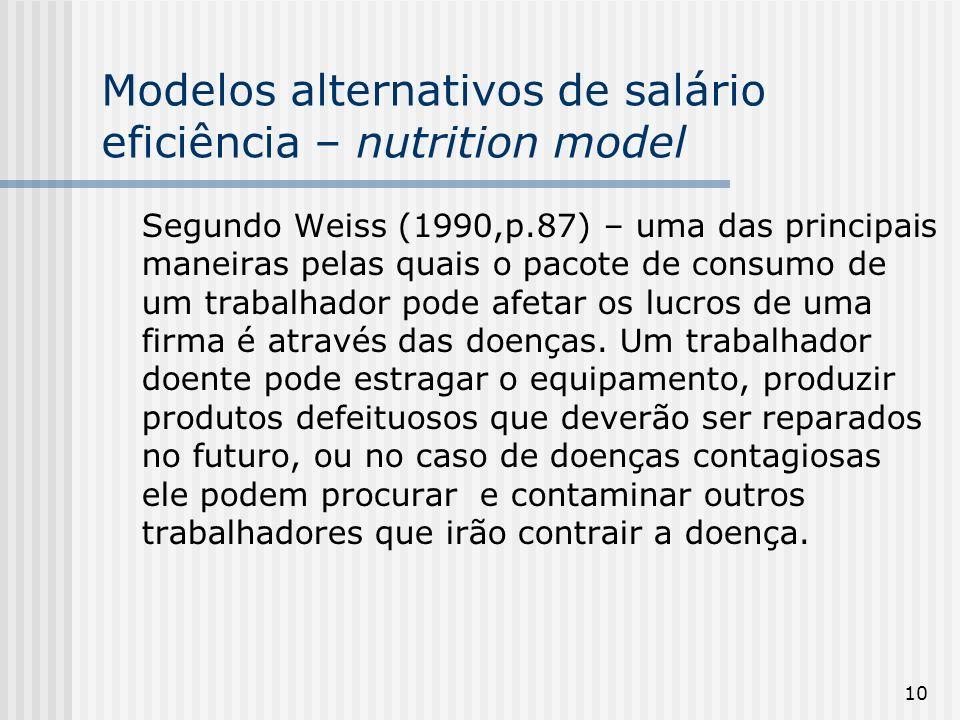 10 Modelos alternativos de salário eficiência – nutrition model Segundo Weiss (1990,p.87) – uma das principais maneiras pelas quais o pacote de consumo de um trabalhador pode afetar os lucros de uma firma é através das doenças.