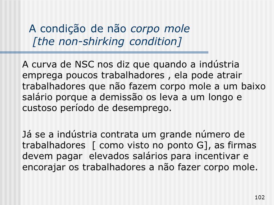102 A condição de não corpo mole [the non-shirking condition] A curva de NSC nos diz que quando a indústria emprega poucos trabalhadores, ela pode atrair trabalhadores que não fazem corpo mole a um baixo salário porque a demissão os leva a um longo e custoso período de desemprego.