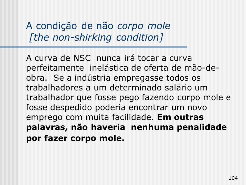104 A condição de não corpo mole [the non-shirking condition] A curva de NSC nunca irá tocar a curva perfeitamente inelástica de oferta de mão-de- obra.