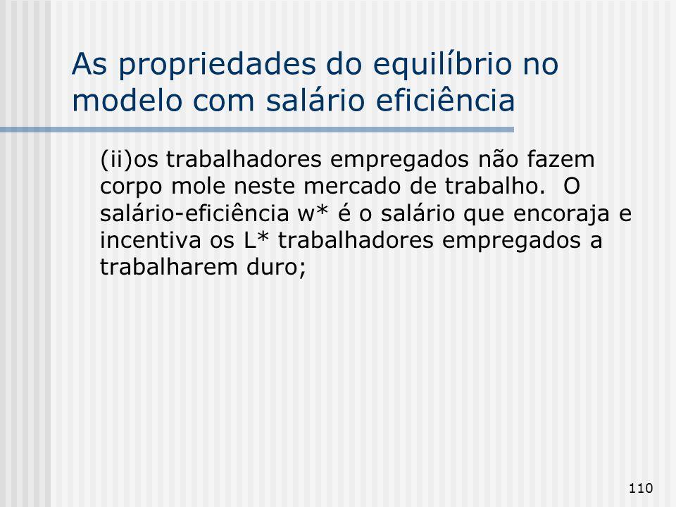 110 As propriedades do equilíbrio no modelo com salário eficiência (ii)os trabalhadores empregados não fazem corpo mole neste mercado de trabalho.