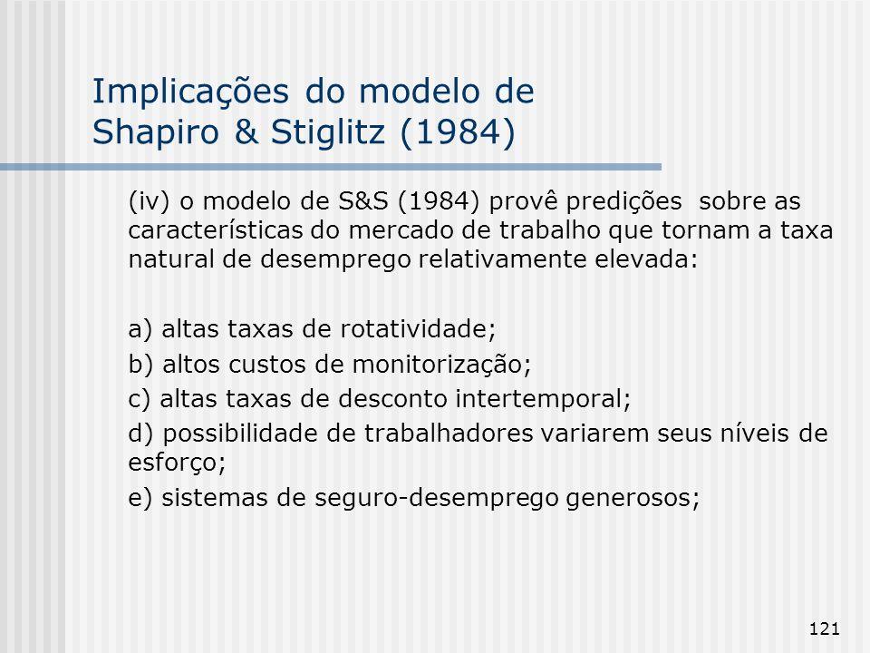 121 Implicações do modelo de Shapiro & Stiglitz (1984) (iv) o modelo de S&S (1984) provê predições sobre as características do mercado de trabalho que tornam a taxa natural de desemprego relativamente elevada: a) altas taxas de rotatividade; b) altos custos de monitorização; c) altas taxas de desconto intertemporal; d) possibilidade de trabalhadores variarem seus níveis de esforço; e) sistemas de seguro-desemprego generosos;