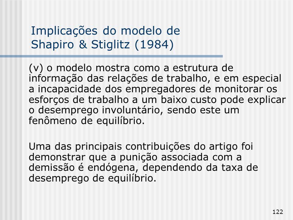 122 Implicações do modelo de Shapiro & Stiglitz (1984) (v) o modelo mostra como a estrutura de informação das relações de trabalho, e em especial a incapacidade dos empregadores de monitorar os esforços de trabalho a um baixo custo pode explicar o desemprego involuntário, sendo este um fenômeno de equilíbrio.