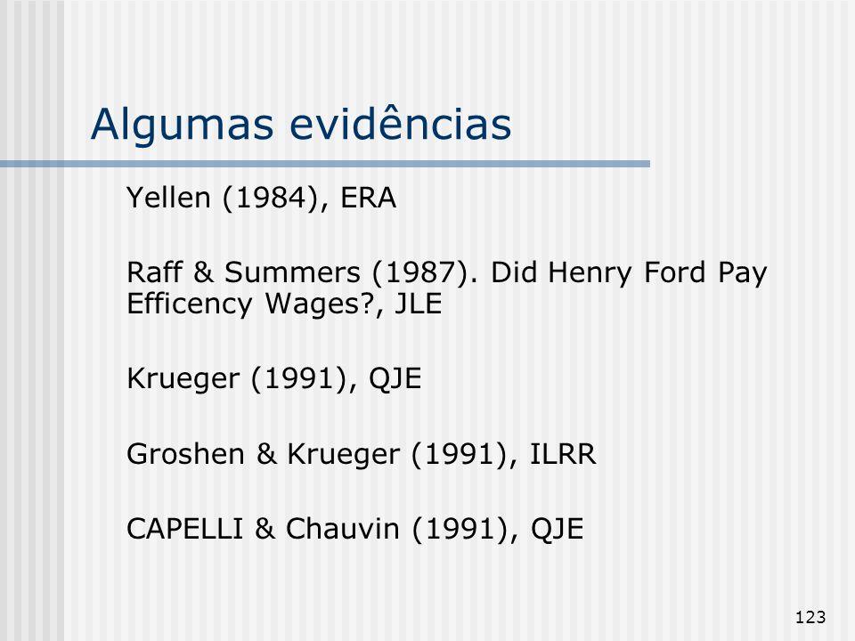 123 Algumas evidências Yellen (1984), ERA Raff & Summers (1987).