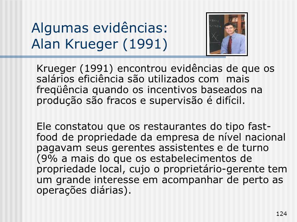 124 Algumas evidências: Alan Krueger (1991) Krueger (1991) encontrou evidências de que os salários eficiência são utilizados com mais freqüência quando os incentivos baseados na produção são fracos e supervisão é difícil.