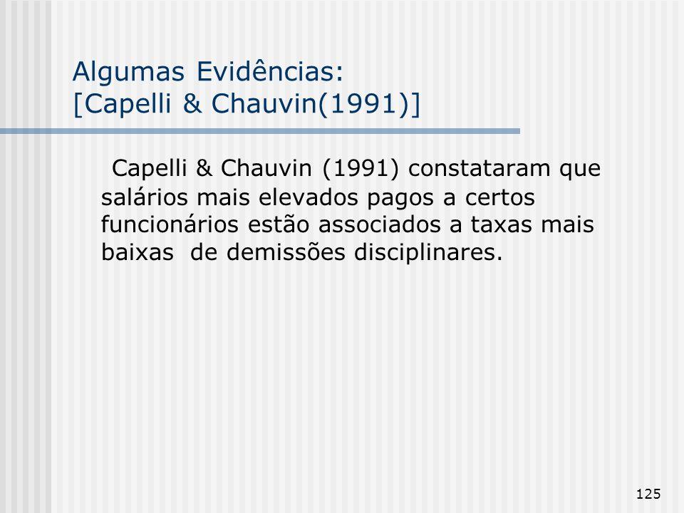 125 Algumas Evidências: [Capelli & Chauvin(1991)] Capelli & Chauvin (1991) constataram que salários mais elevados pagos a certos funcionários estão associados a taxas mais baixas de demissões disciplinares.