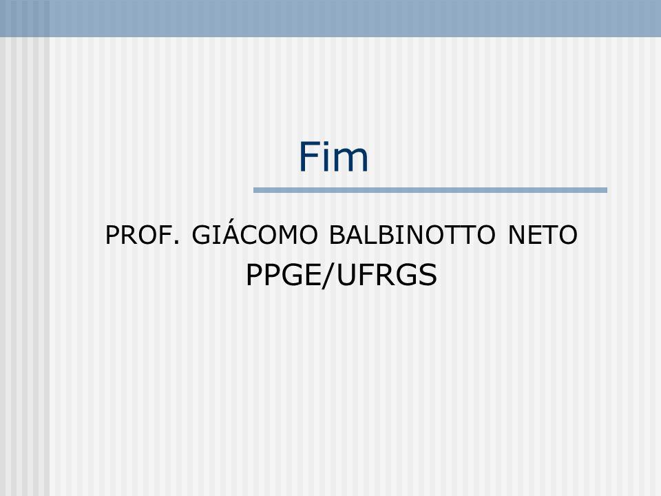 Fim PROF. GIÁCOMO BALBINOTTO NETO PPGE/UFRGS