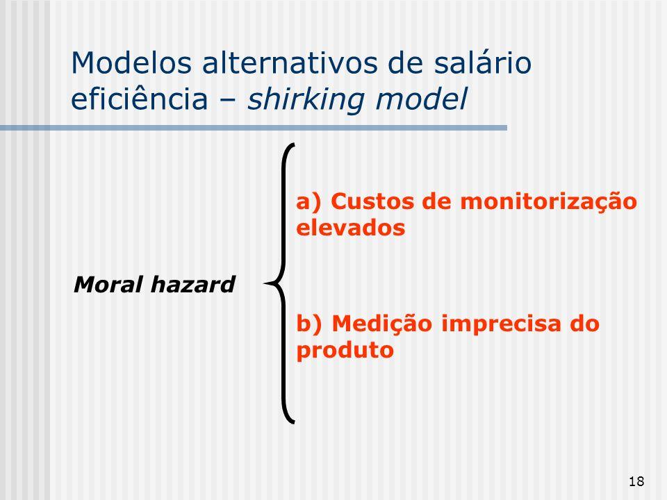 18 Modelos alternativos de salário eficiência – shirking model Moral hazard a) Custos de monitorização elevados b) Medição imprecisa do produto