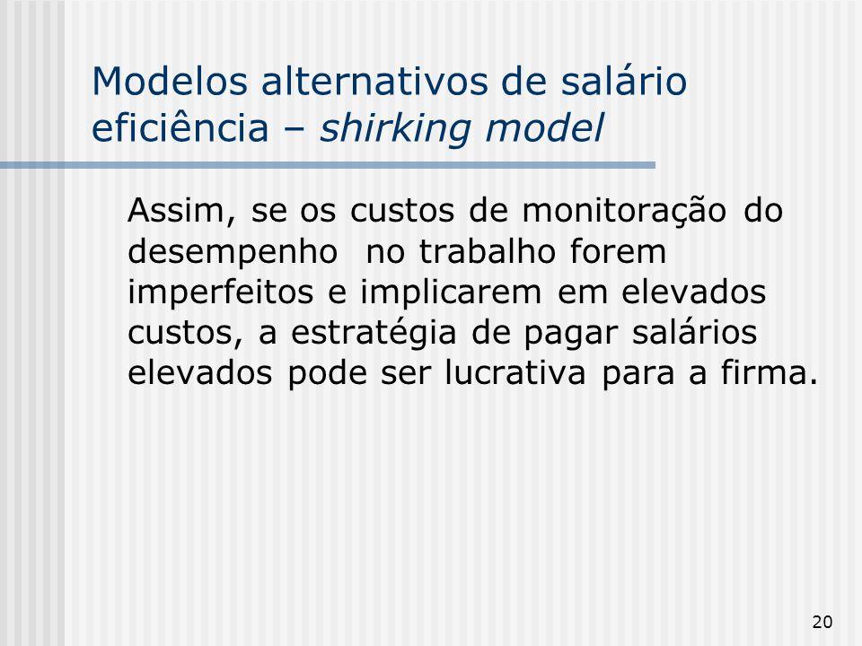 20 Modelos alternativos de salário eficiência – shirking model Assim, se os custos de monitoração do desempenho no trabalho forem imperfeitos e implicarem em elevados custos, a estratégia de pagar salários elevados pode ser lucrativa para a firma.