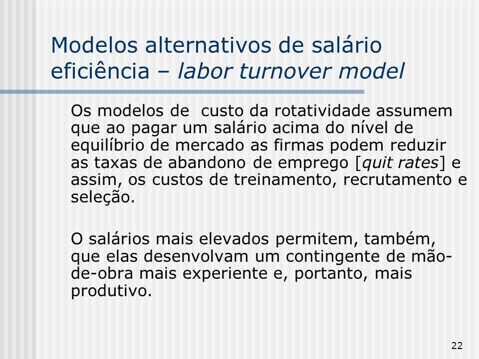 22 Modelos alternativos de salário eficiência – labor turnover model Os modelos de custo da rotatividade assumem que ao pagar um salário acima do nível de equilíbrio de mercado as firmas podem reduzir as taxas de abandono de emprego [quit rates] e assim, os custos de treinamento, recrutamento e seleção.