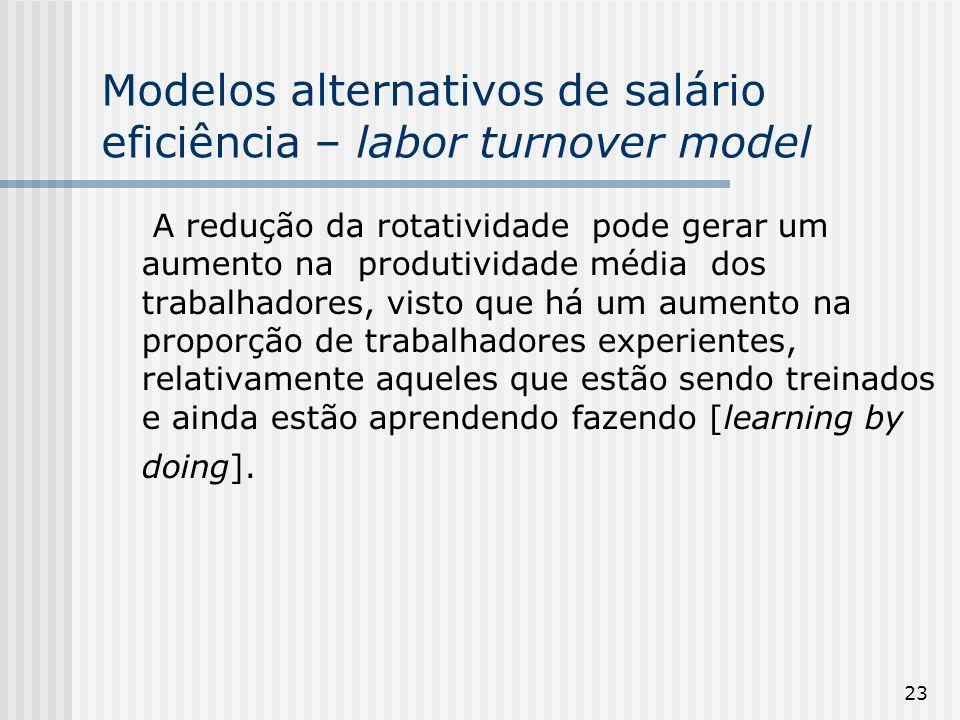 23 Modelos alternativos de salário eficiência – labor turnover model A redução da rotatividade pode gerar um aumento na produtividade média dos trabalhadores, visto que há um aumento na proporção de trabalhadores experientes, relativamente aqueles que estão sendo treinados e ainda estão aprendendo fazendo [learning by doing].