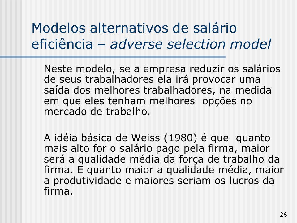 26 Modelos alternativos de salário eficiência – adverse selection model Neste modelo, se a empresa reduzir os salários de seus trabalhadores ela irá provocar uma saída dos melhores trabalhadores, na medida em que eles tenham melhores opções no mercado de trabalho.