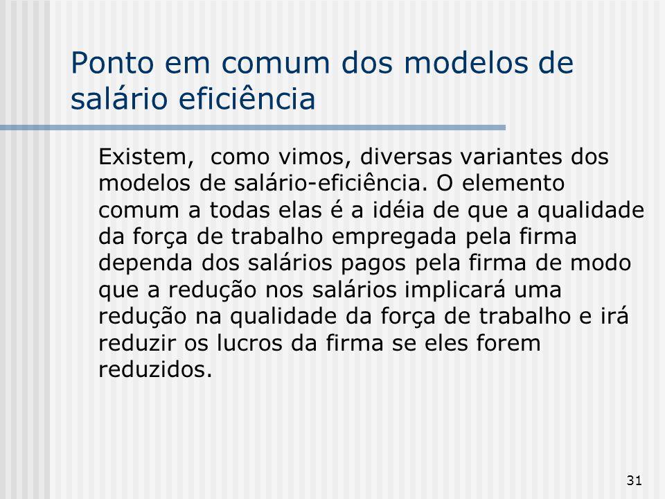 31 Ponto em comum dos modelos de salário eficiência Existem, como vimos, diversas variantes dos modelos de salário-eficiência.
