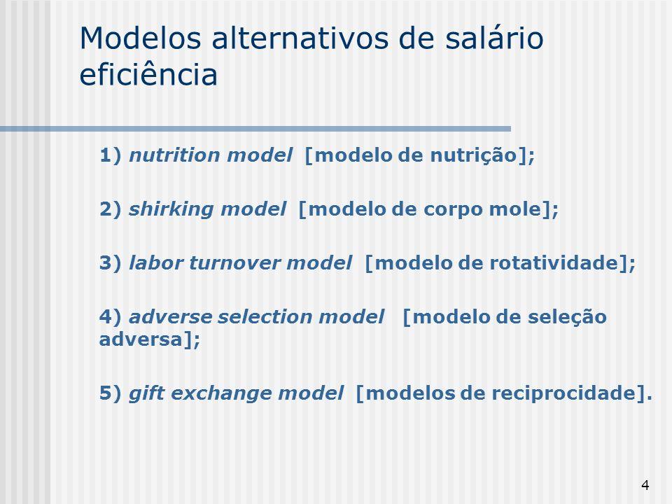 25 Modelos alternativos de salário eficiência – adverse selection model No modelo de seleção adversa, desenvolvido por Weiss (1980), o salário pago pela empresa é assumido afetar a qualidade dos trabalhadores que ela poder contratar num contexto de assimetria de informação.