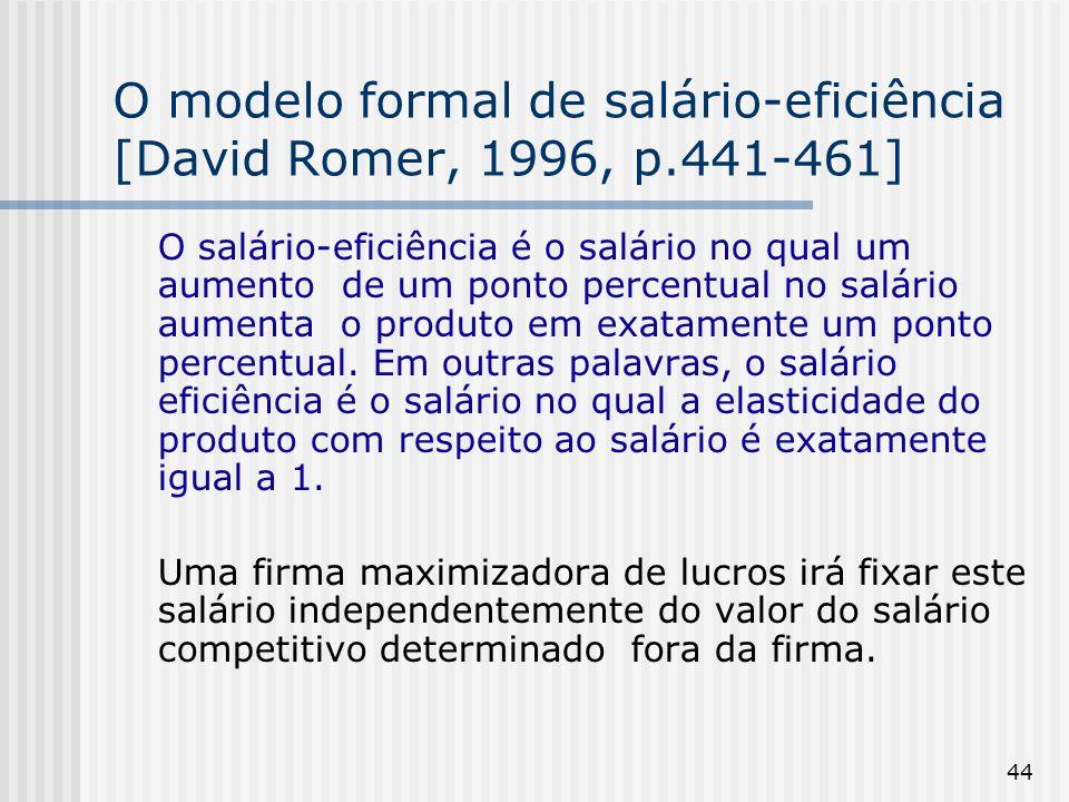 44 O modelo formal de salário-eficiência [David Romer, 1996, p.441-461] O salário-eficiência é o salário no qual um aumento de um ponto percentual no salário aumenta o produto em exatamente um ponto percentual.