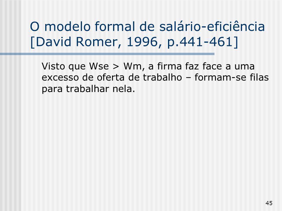 45 O modelo formal de salário-eficiência [David Romer, 1996, p.441-461] Visto que Wse > Wm, a firma faz face a uma excesso de oferta de trabalho – formam-se filas para trabalhar nela.