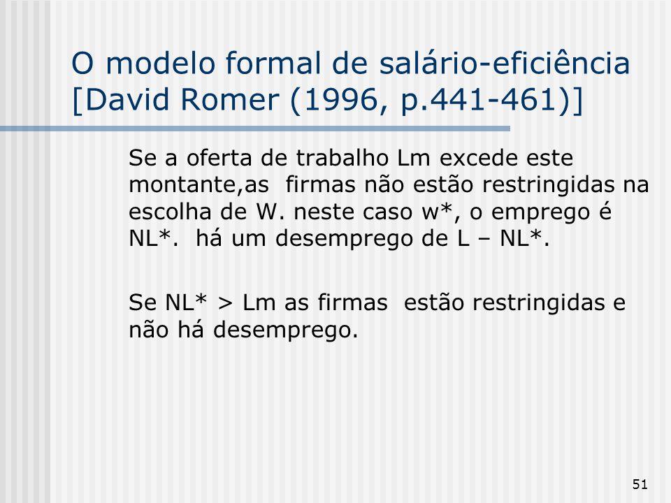51 O modelo formal de salário-eficiência [David Romer (1996, p.441-461)] Se a oferta de trabalho Lm excede este montante,as firmas não estão restringidas na escolha de W.