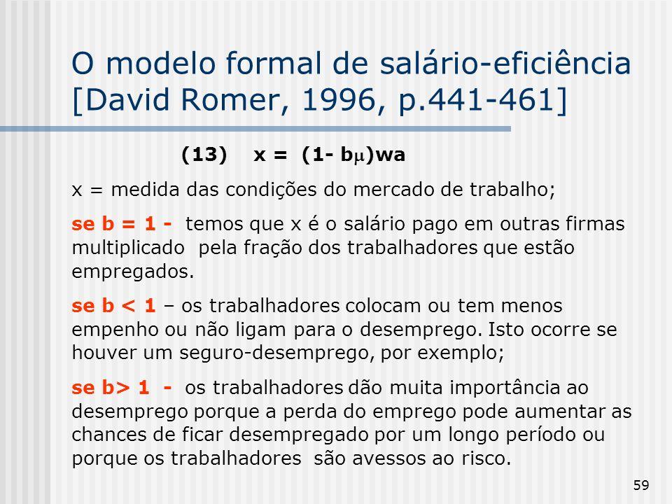59 O modelo formal de salário-eficiência [David Romer, 1996, p.441-461] (13) x = (1- b)wa x = medida das condições do mercado de trabalho; se b = 1 - temos que x é o salário pago em outras firmas multiplicado pela fração dos trabalhadores que estão empregados.