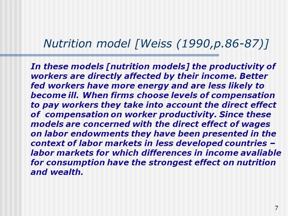 108 As propriedades do equilíbrio no modelo com salário eficiência (i) não há forças de mercado que forcem o salário-eficiência para baixo em direção ao salário competitivo wc.