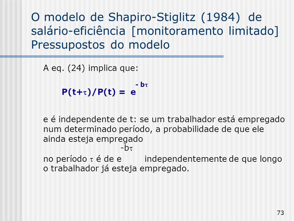 73 O modelo de Shapiro-Stiglitz (1984) de salário-eficiência [monitoramento limitado] Pressupostos do modelo A eq.