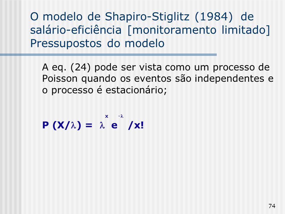 74 O modelo de Shapiro-Stiglitz (1984) de salário-eficiência [monitoramento limitado] Pressupostos do modelo A eq.
