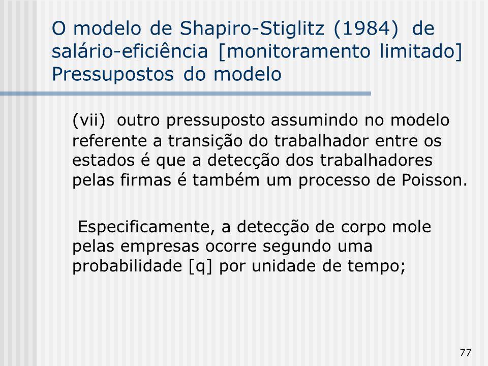 77 O modelo de Shapiro-Stiglitz (1984) de salário-eficiência [monitoramento limitado] Pressupostos do modelo (vii) outro pressuposto assumindo no modelo referente a transição do trabalhador entre os estados é que a detecção dos trabalhadores pelas firmas é também um processo de Poisson.