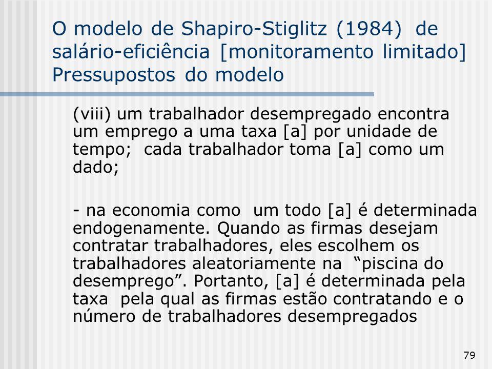 79 O modelo de Shapiro-Stiglitz (1984) de salário-eficiência [monitoramento limitado] Pressupostos do modelo (viii) um trabalhador desempregado encontra um emprego a uma taxa [a] por unidade de tempo; cada trabalhador toma [a] como um dado; - na economia como um todo [a] é determinada endogenamente.
