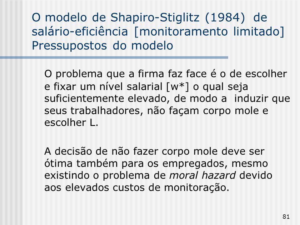 81 O modelo de Shapiro-Stiglitz (1984) de salário-eficiência [monitoramento limitado] Pressupostos do modelo O problema que a firma faz face é o de escolher e fixar um nível salarial [w*] o qual seja suficientemente elevado, de modo a induzir que seus trabalhadores, não façam corpo mole e escolher L.
