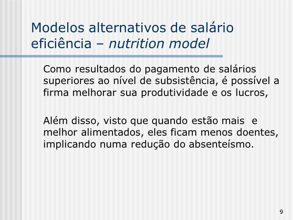 70 O modelo de Shapiro-Stiglitz (1984) de salário-eficiência [monitoramento limitado] Pressupostos do modelo (iv) há somente duas possibilidades de esforço: esforço baixo - e = 0 esforço alto - e = ê
