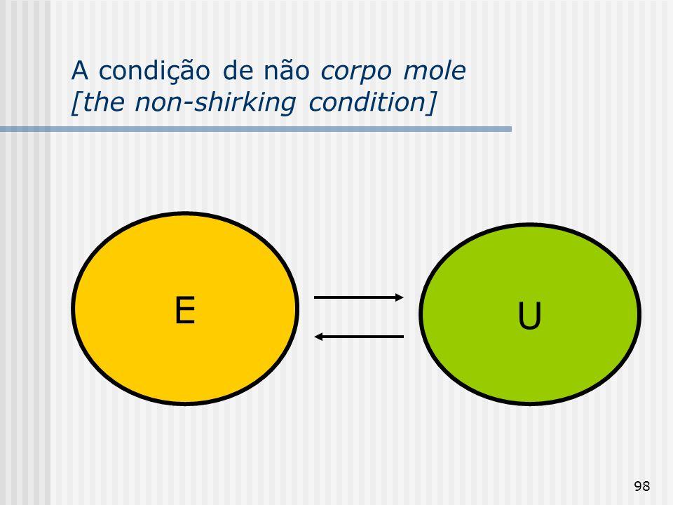 98 A condição de não corpo mole [the non-shirking condition] E U