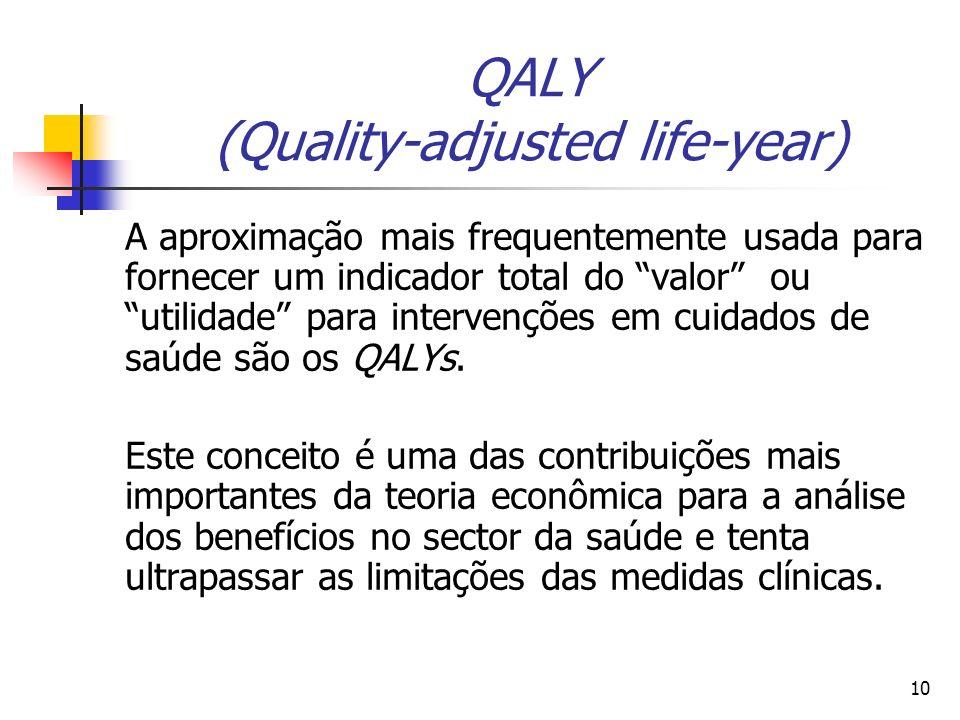 10 QALY (Quality-adjusted life-year) A aproximação mais frequentemente usada para fornecer um indicador total do valor ou utilidade para intervenções