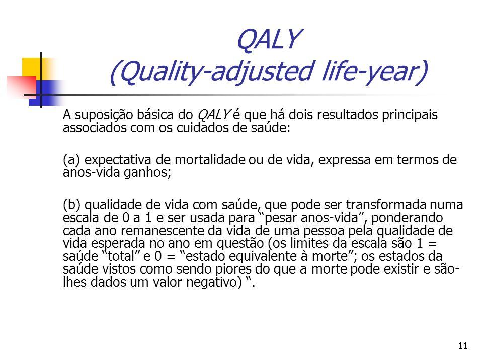 11 QALY (Quality-adjusted life-year) A suposição básica do QALY é que há dois resultados principais associados com os cuidados de saúde: (a) expectati