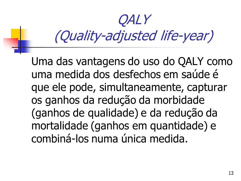 13 QALY (Quality-adjusted life-year) Uma das vantagens do uso do QALY como uma medida dos desfechos em saúde é que ele pode, simultaneamente, capturar