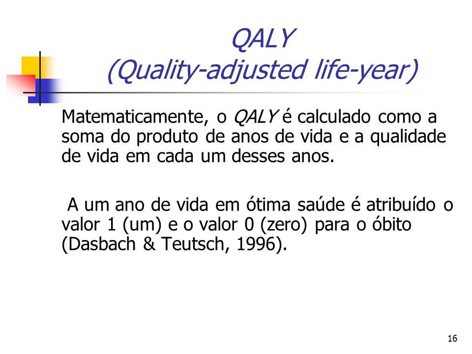 16 QALY (Quality-adjusted life-year) Matematicamente, o QALY é calculado como a soma do produto de anos de vida e a qualidade de vida em cada um desse
