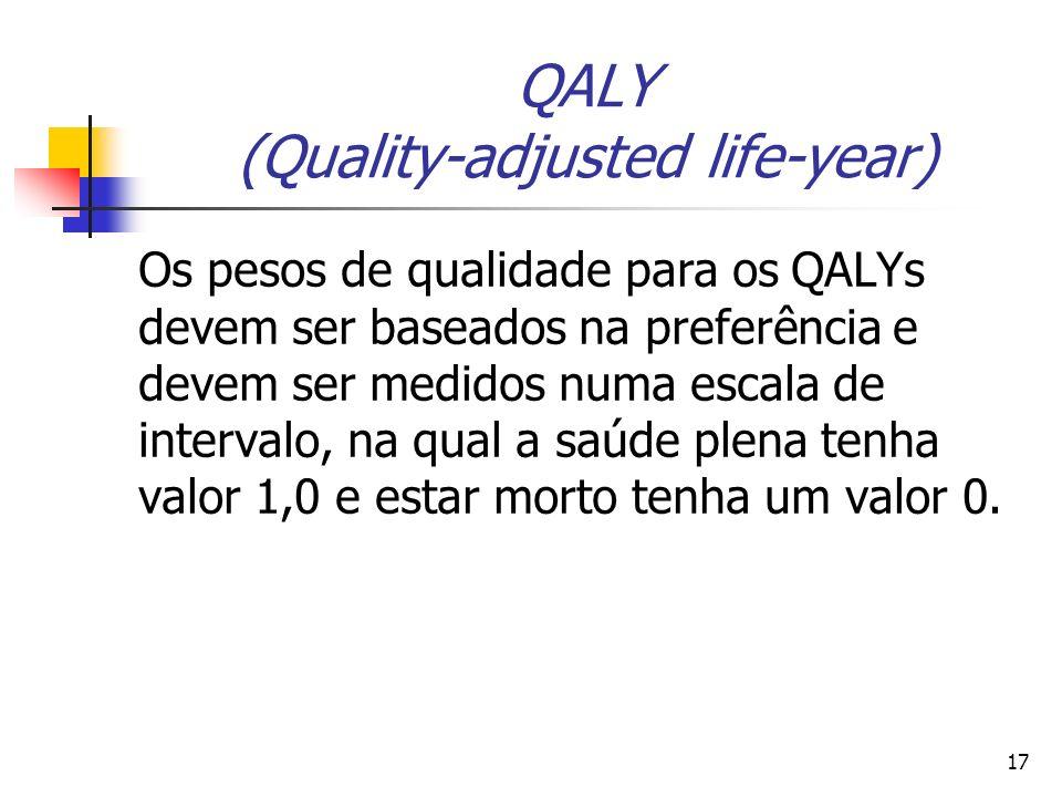 17 QALY (Quality-adjusted life-year) Os pesos de qualidade para os QALYs devem ser baseados na preferência e devem ser medidos numa escala de interval
