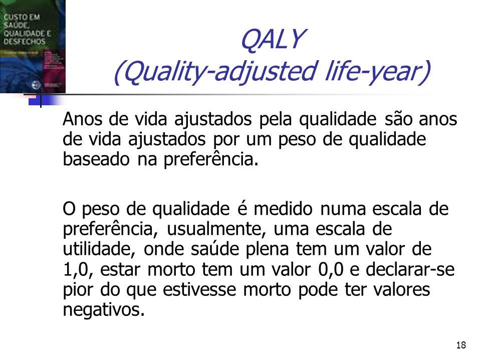 18 QALY (Quality-adjusted life-year) Anos de vida ajustados pela qualidade são anos de vida ajustados por um peso de qualidade baseado na preferência.