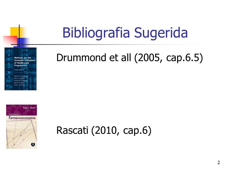 2 Bibliografia Sugerida Drummond et all (2005, cap.6.5) Rascati (2010, cap.6)