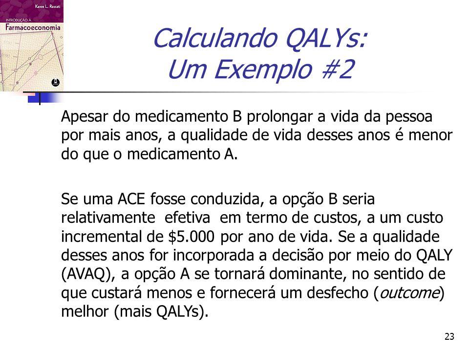 23 Calculando QALYs: Um Exemplo #2 Apesar do medicamento B prolongar a vida da pessoa por mais anos, a qualidade de vida desses anos é menor do que o