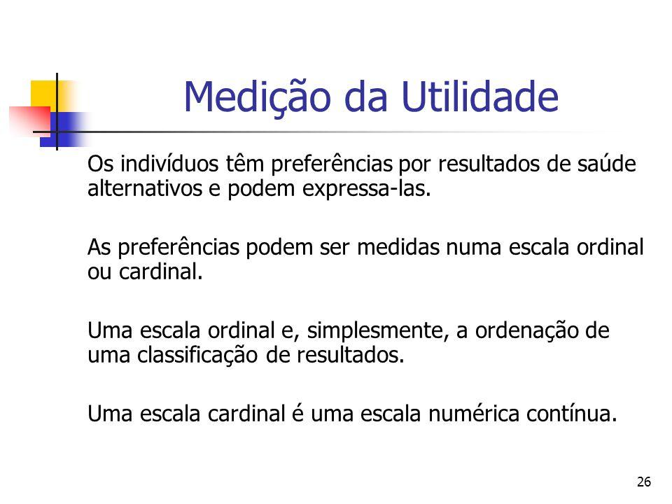 26 Medição da Utilidade Os indivíduos têm preferências por resultados de saúde alternativos e podem expressa-las. As preferências podem ser medidas nu