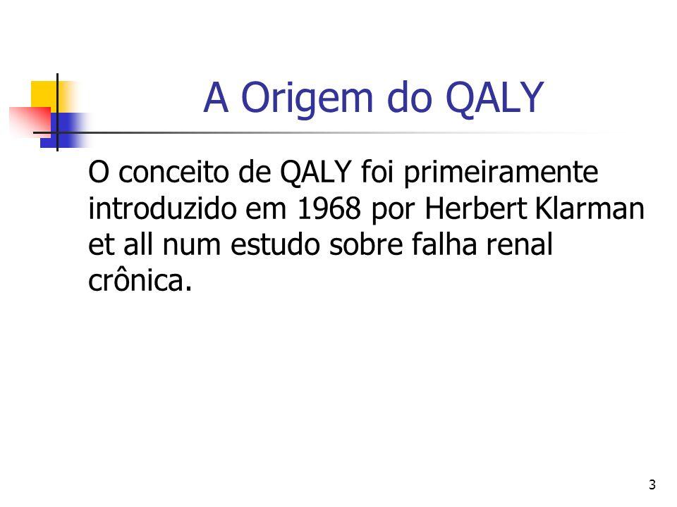 3 A Origem do QALY O conceito de QALY foi primeiramente introduzido em 1968 por Herbert Klarman et all num estudo sobre falha renal crônica.