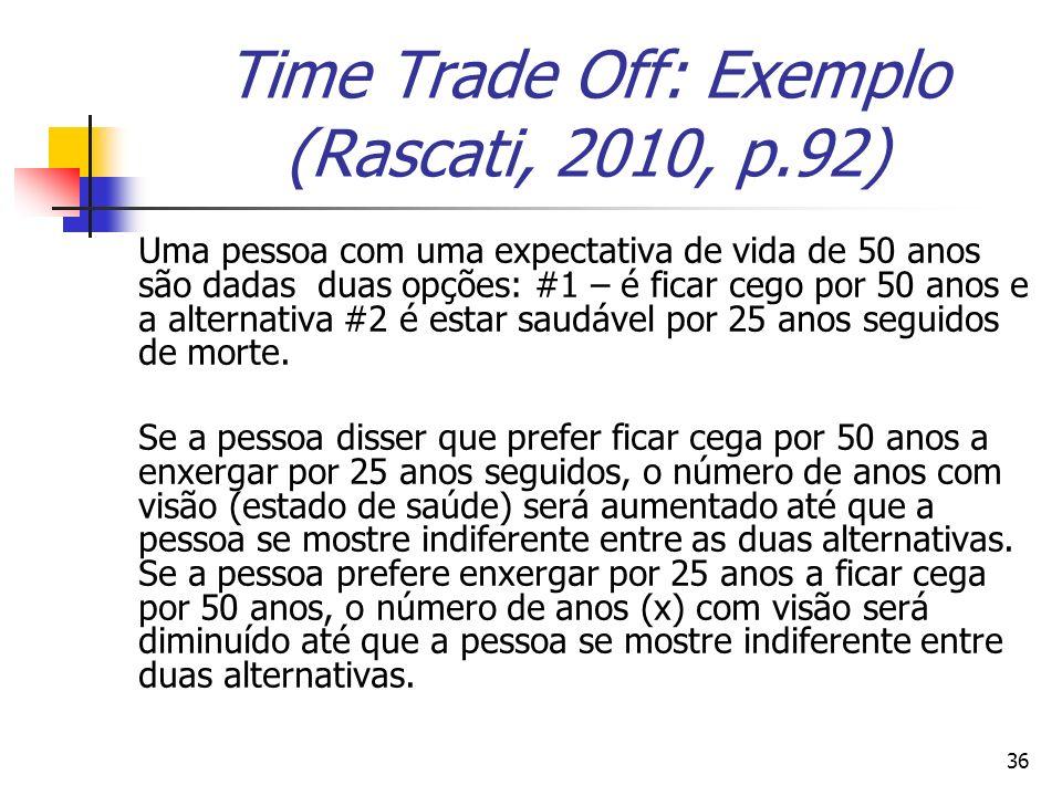 36 Time Trade Off: Exemplo (Rascati, 2010, p.92) Uma pessoa com uma expectativa de vida de 50 anos são dadas duas opções: #1 – é ficar cego por 50 ano