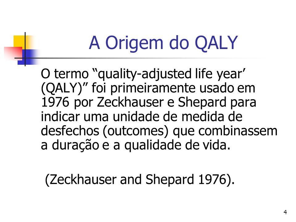 4 A Origem do QALY O termo quality-adjusted life year (QALY) foi primeiramente usado em 1976 por Zeckhauser e Shepard para indicar uma unidade de medi