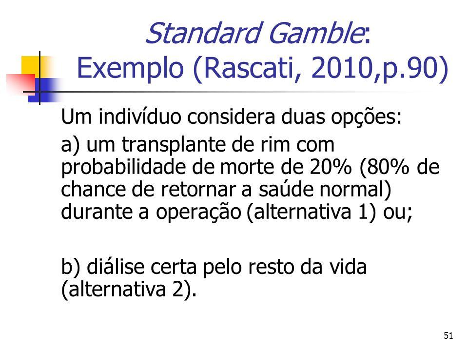 51 Standard Gamble: Exemplo (Rascati, 2010,p.90) Um indivíduo considera duas opções: a) um transplante de rim com probabilidade de morte de 20% (80% d