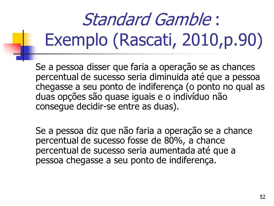 52 Standard Gamble : Exemplo (Rascati, 2010,p.90) Se a pessoa disser que faria a operação se as chances percentual de sucesso seria diminuida até que