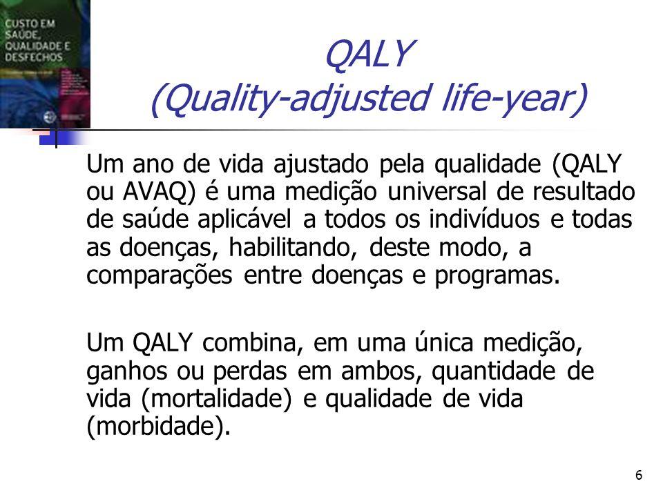 6 QALY (Quality-adjusted life-year) Um ano de vida ajustado pela qualidade (QALY ou AVAQ) é uma medição universal de resultado de saúde aplicável a to