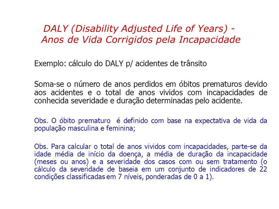 Exemplo: cálculo do DALY p/ acidentes de trânsito Soma-se o número de anos perdidos em óbitos prematuros devido aos acidentes e o total de anos vivido