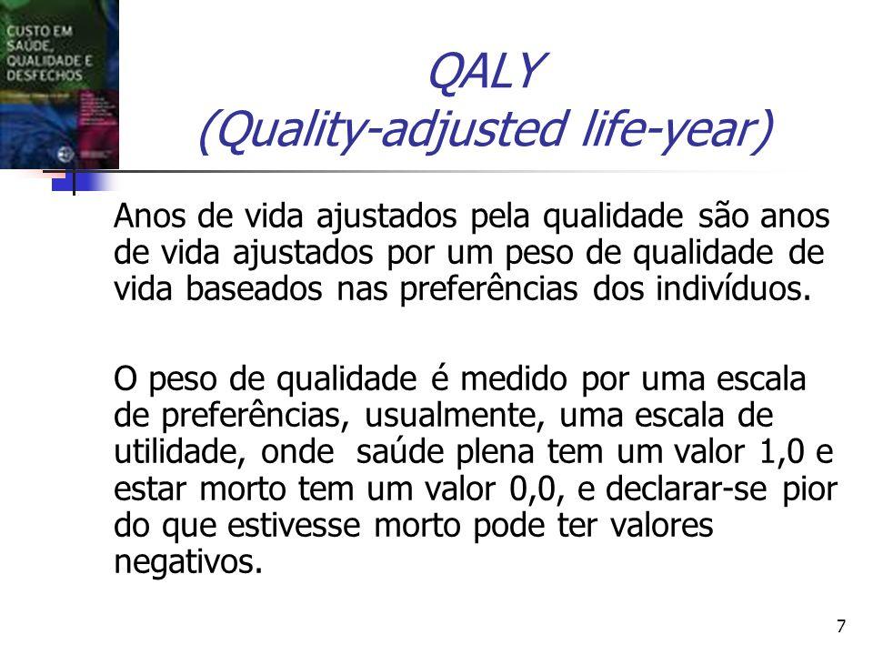 7 QALY (Quality-adjusted life-year) Anos de vida ajustados pela qualidade são anos de vida ajustados por um peso de qualidade de vida baseados nas pre