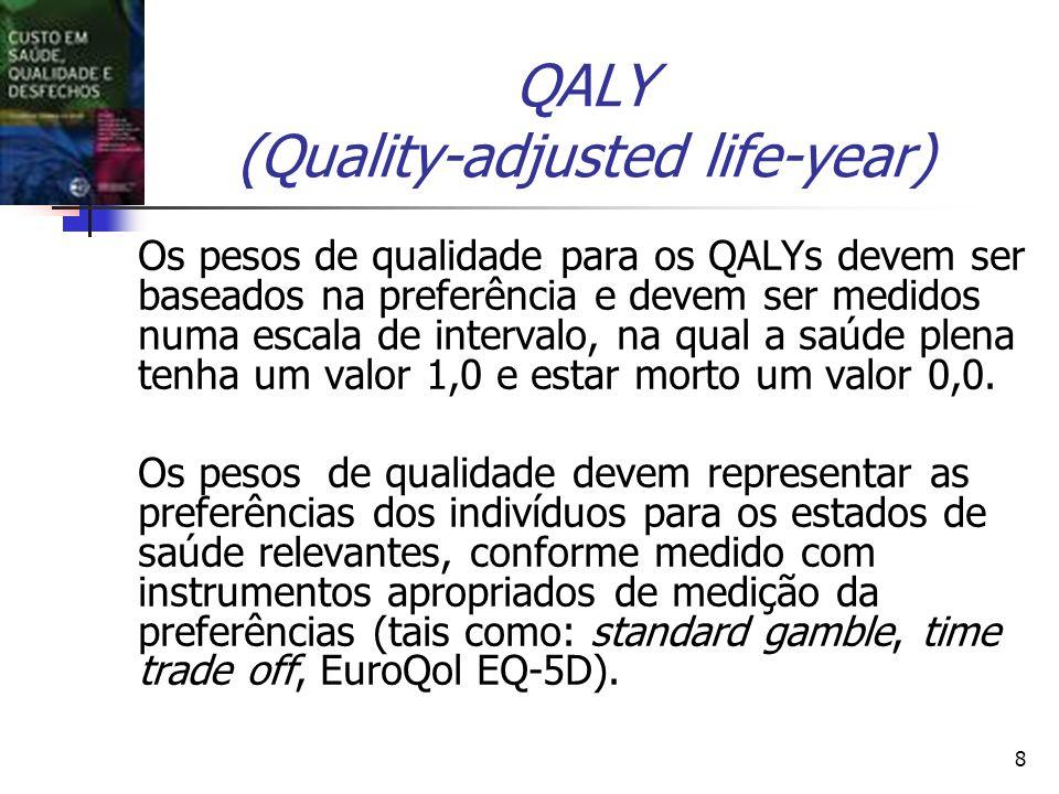 8 QALY (Quality-adjusted life-year) Os pesos de qualidade para os QALYs devem ser baseados na preferência e devem ser medidos numa escala de intervalo